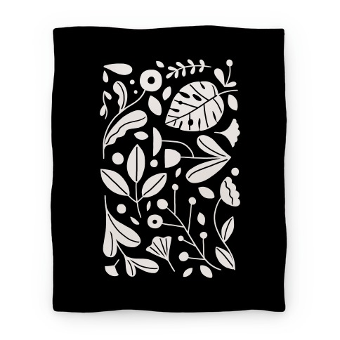 Black and White Plant Pattern Blanket