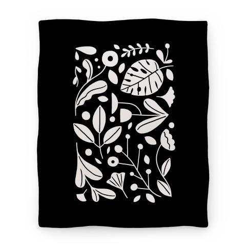 Black and White Plant Pattern Blanket