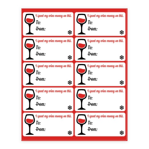 I Spent My Wine Money on This Gift Tags Stickers and Decal Sheet