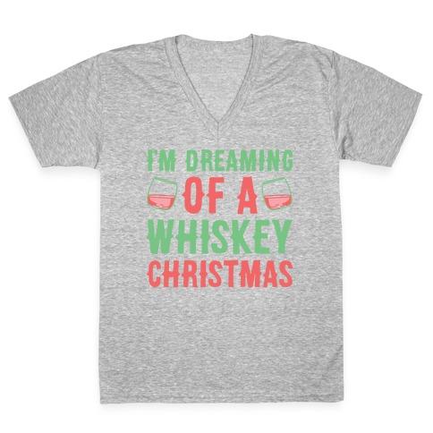 I'm Dreaming Of A Whiskey Christmas V-Neck Tee Shirt