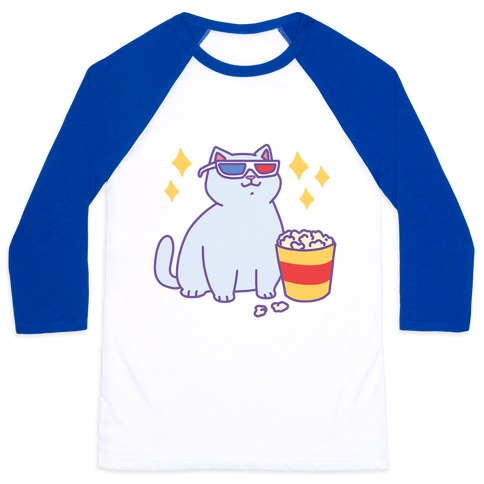 Fat Cat With Popcorn Baseball Tee