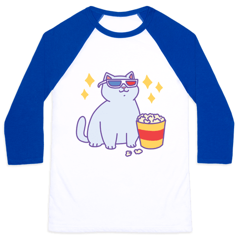 Fat Cat With Popcorn Baseball Tee