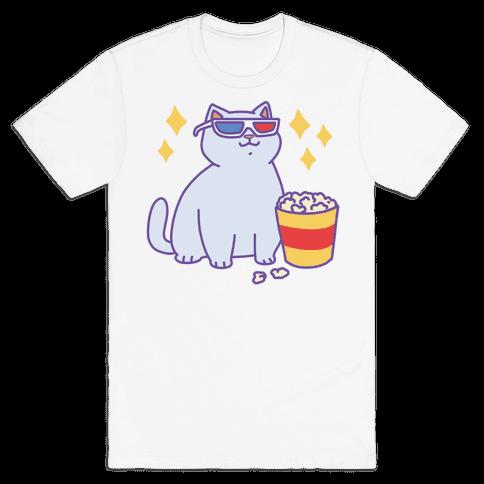 Fat Cat With Popcorn Mens T-Shirt
