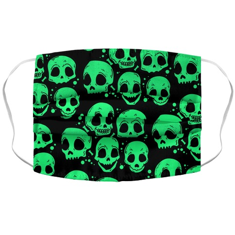 Neon Green Skulls Pattern Accordion Face Mask
