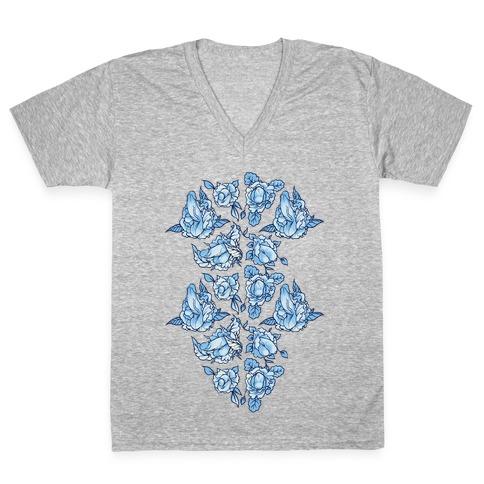 Floral Penis Collage V-Neck Tee Shirt