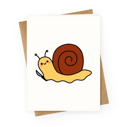 Snail With Knife Greeting Card