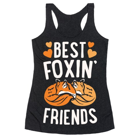 Best Foxin' Friends White Print Racerback Tank Top