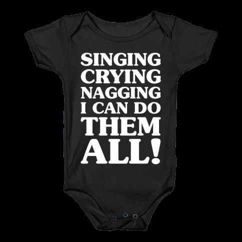 Singing Crying Nagging Baby Onesy