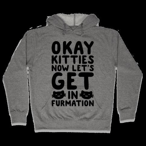 Okay Kitties Now Let's Get In Furmation Parody Hooded Sweatshirt