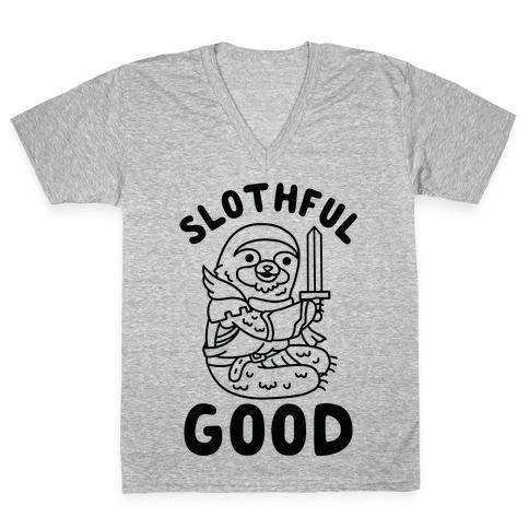 Slothful Good Sloth Paladin V-Neck Tee Shirt