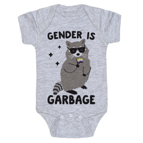 Gender Is Garbage Non-binary Raccoon Baby Onesy