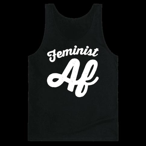 Feminist Af White Print Tank Top