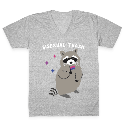 Bisexual Trash Raccoon V-Neck Tee Shirt