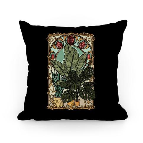 Art Nouveau House Plants Pillow