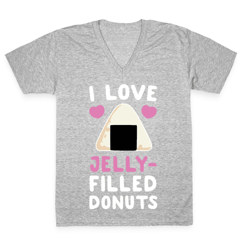 I Love Jelly-Filled Donuts V-Neck Tee Shirt