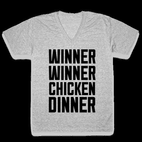 Winner Winner Chicken Dinner V-Neck Tee Shirt