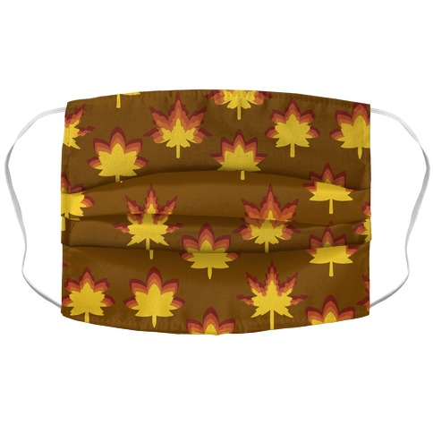 Retro Fall Leaves Pattern Accordion Face Mask