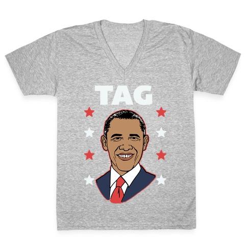Tag Team Barack & Michelle Obama 1 V-Neck Tee Shirt