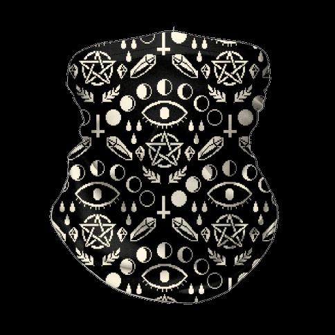 Occult Pixel Pattern On Black Neck Gaiter