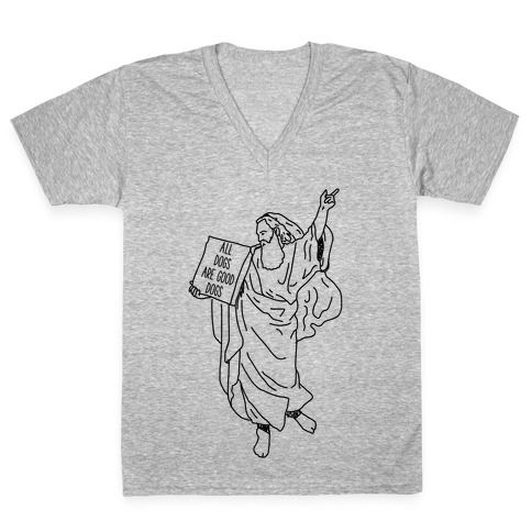 Commandments All Dogs are Good Dogs V-Neck Tee Shirt