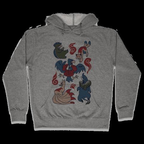 Yokai Guys Pattern  Hooded Sweatshirt