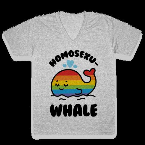 Homosexu-Whale V-Neck Tee Shirt
