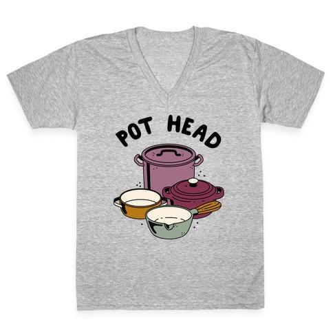 Pot Head Cooking Pots V-Neck Tee Shirt
