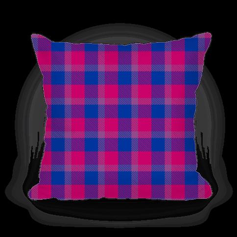 Bi Pride Flag Plaid Pillow