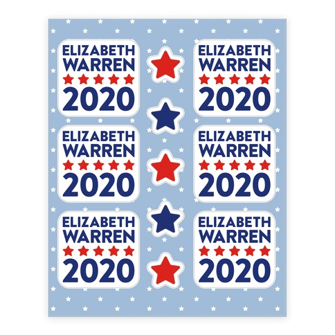 Elizabeth Warren 2020 Sticker and Decal Sheet