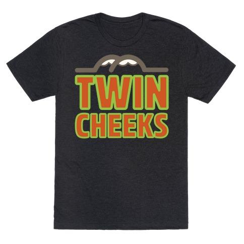 Twin Cheeks Parody White Print T-Shirt