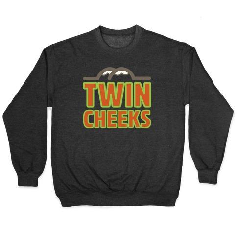 Twin Cheeks Parody White Print Pullover