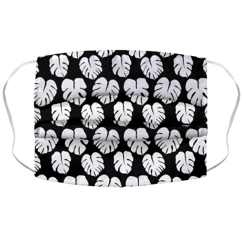 Monstera Simple Boho Pattern Black and White Accordion Face Mask