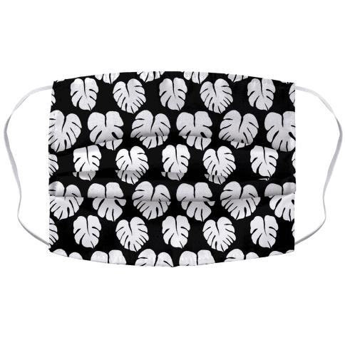 Monstera Simple Boho Pattern Black and White Face Mask Cover