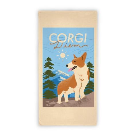 Corgi Diem Beach Towel