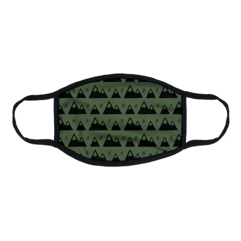 Mountains Boho Pattern Chive Green Flat Face Mask