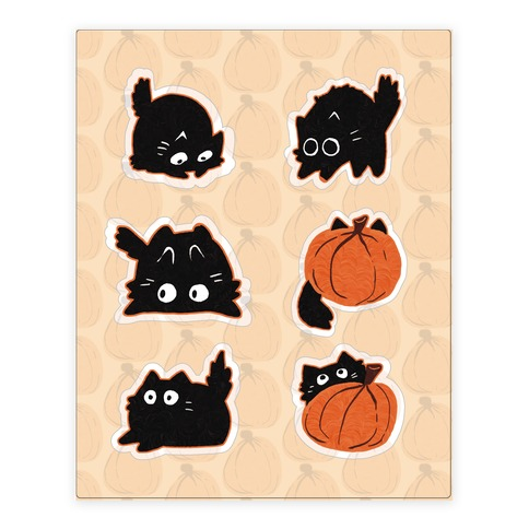 Pumpkin Cats Stickers and Decal Sheet