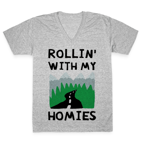 Rollin' With My Homies Roadtrip V-Neck Tee Shirt