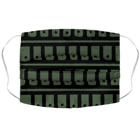 Abstract Boho Scales and Dots Design Green Accordion Face Mask