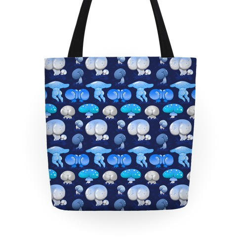 Butt Mushroom Pattern blue Tote