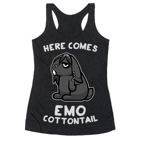 Here Comes Emo Cottontail Racerback Tank Top