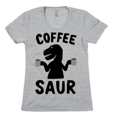 Coffeesaur Dinosaur Womens T-Shirt