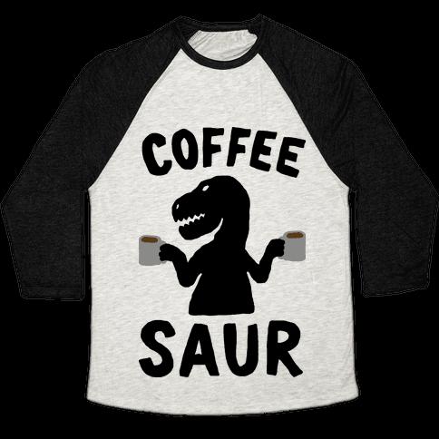 Coffeesaur Dinosaur Baseball Tee