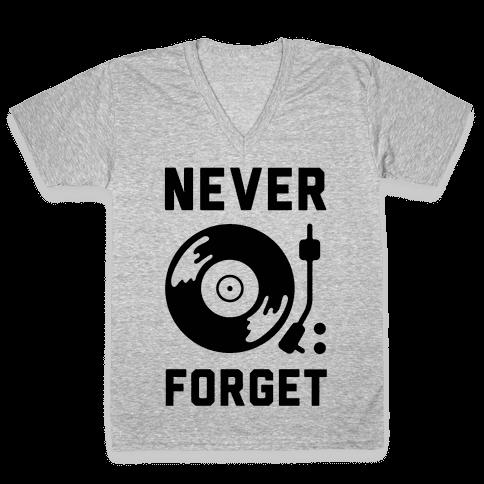 Never Forget Vinyl Records V-Neck Tee Shirt