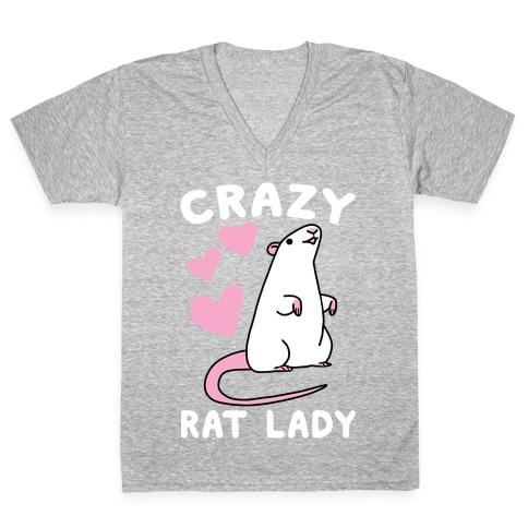 Crazy Rat Lady V-Neck Tee Shirt