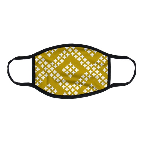 Little Cross Pattern Yellow Flat Face Mask