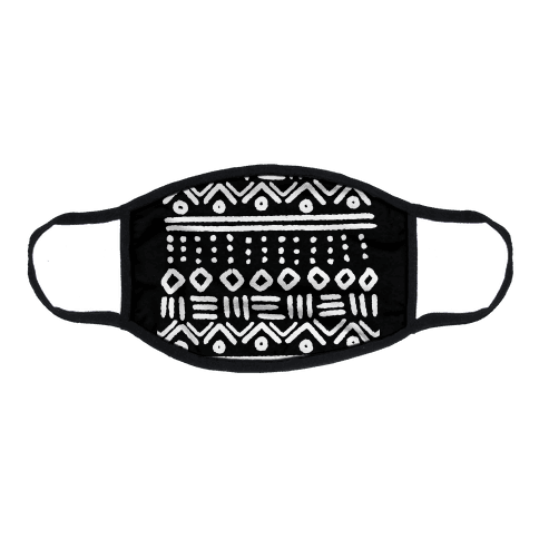Abstract Geometric Black and White Boho Pattern Flat Face Mask
