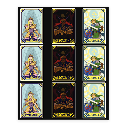Triforce tarot sticker set