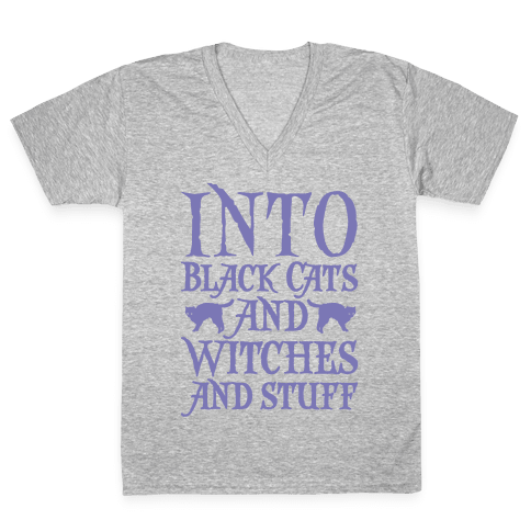 Into Black Cats and Witches and Stuff Parody White Print V-Neck Tee Shirt
