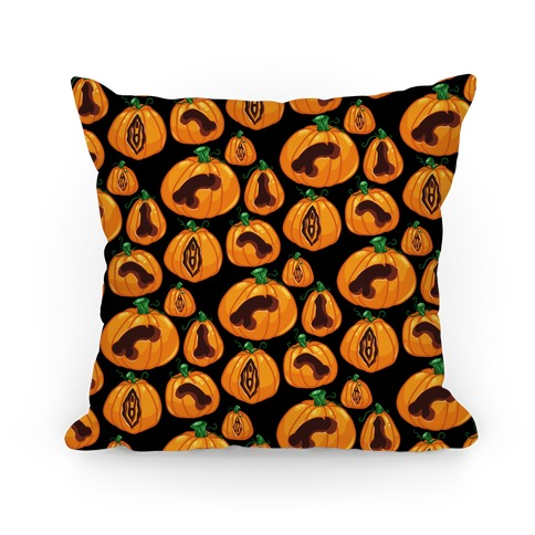 Genital Jack-O-Lanterns Pattern Pillow