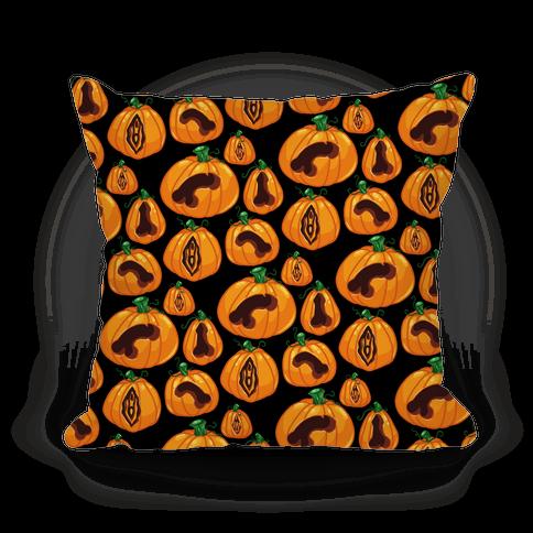 Genital Jack-O-Lanterns Pattern Pillow
